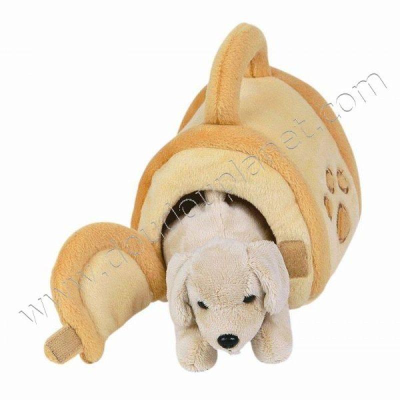 histoire d ours peluche chien labrador dans sa niche 20cm. Black Bedroom Furniture Sets. Home Design Ideas