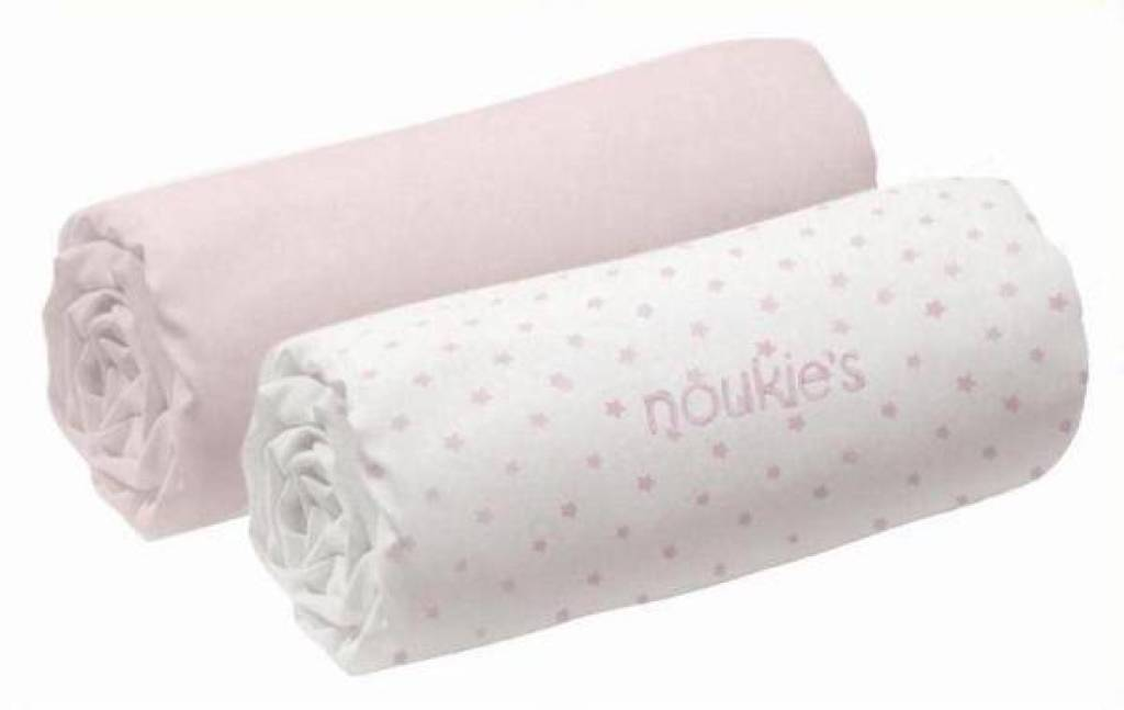 Noukies lot de 2 draps housse rose mix and match 70x140 cm for Drap housse 70x140