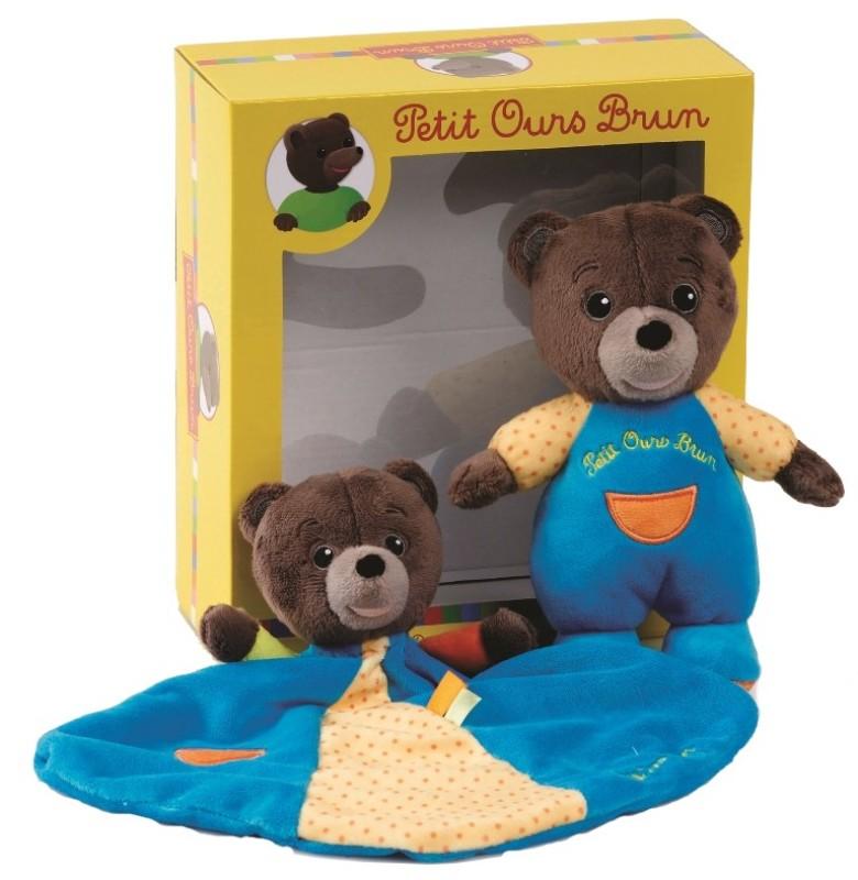 ac32ef261ba92 Jemini - Coffret petit ours brun doudou et peluche