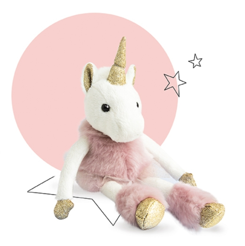 histoire d ours peluche licorne glitter rose 25 cm. Black Bedroom Furniture Sets. Home Design Ideas