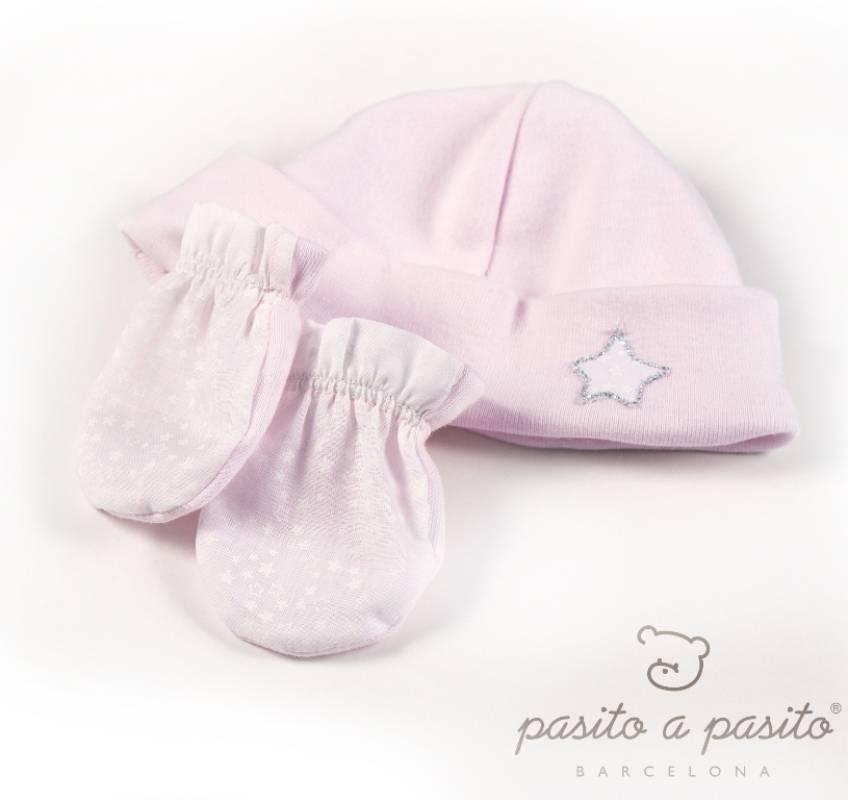 pasito a pasito coffret bonnet et moufles etoile rose naissance. Black Bedroom Furniture Sets. Home Design Ideas