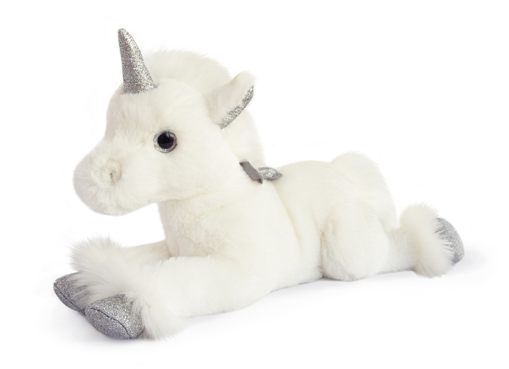 histoire d ours peluche licorne allong e argent 35 cm. Black Bedroom Furniture Sets. Home Design Ideas