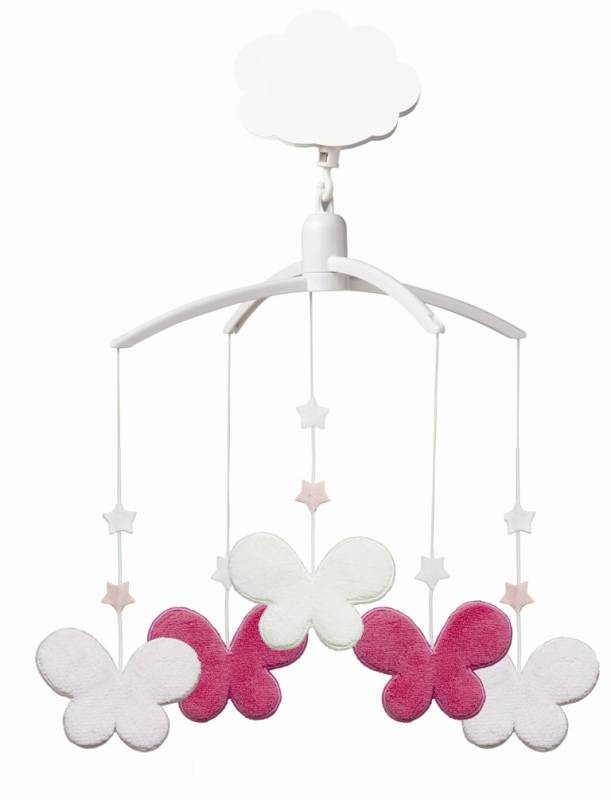 trousselier mobile musical etoiles papillons fuchsia rose. Black Bedroom Furniture Sets. Home Design Ideas