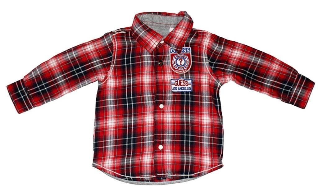 guess enfant chemise manches longues carreaux rouge 3. Black Bedroom Furniture Sets. Home Design Ideas