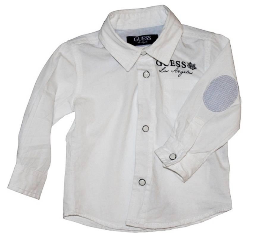 guess enfant chemise manches longues blanche 3 6 mois. Black Bedroom Furniture Sets. Home Design Ideas