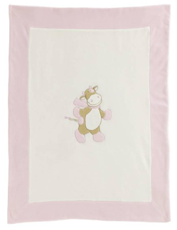 couverture velours bébé Noukies   Couverture velours vache lola rose couverture velours bébé