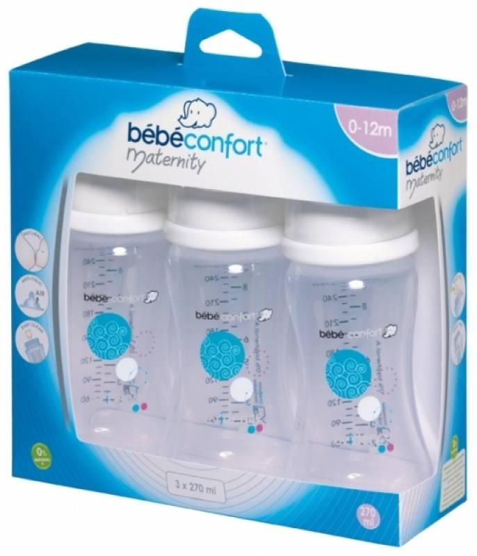 b b confort lot de 3 biberons blanc 270 ml maternity. Black Bedroom Furniture Sets. Home Design Ideas