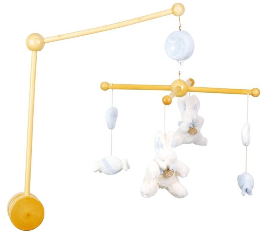 doudou et compagnie mobile musical bois lapin bonbon bleu. Black Bedroom Furniture Sets. Home Design Ideas