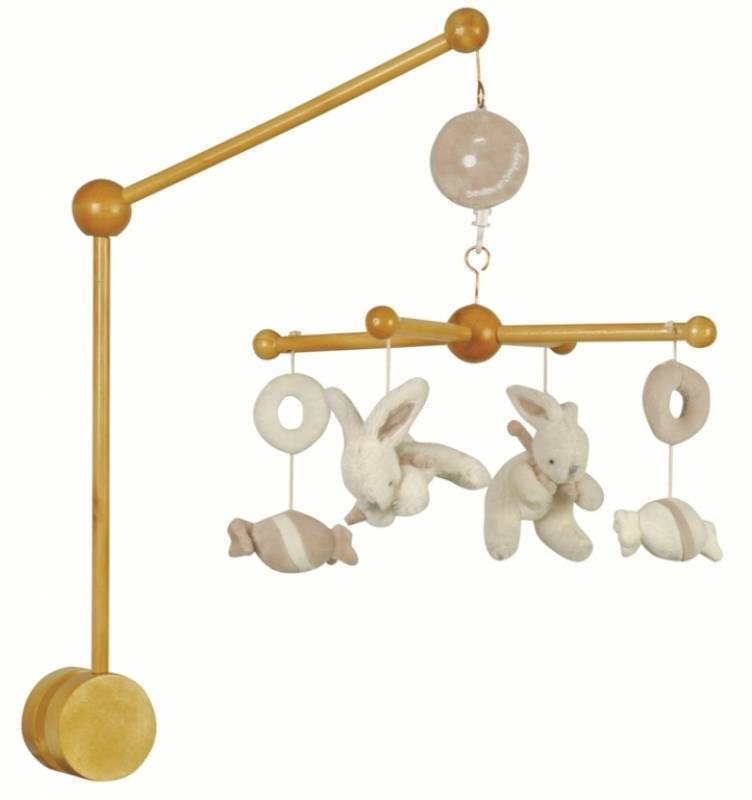doudou et compagnie mobile musical bois lapin bonbon taupe. Black Bedroom Furniture Sets. Home Design Ideas