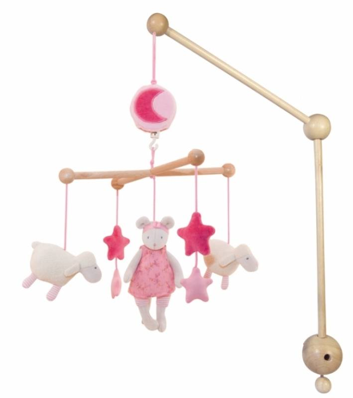 moulin roty mobile musical souris lila doudouplanet. Black Bedroom Furniture Sets. Home Design Ideas