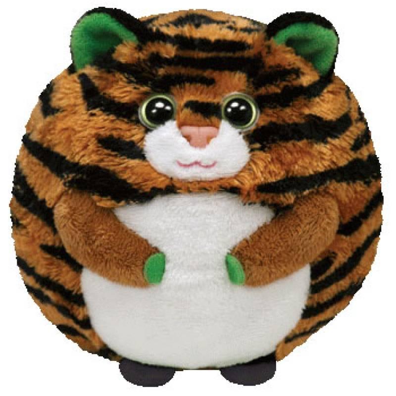 Ty - Peluchette boule tigre monaco beanie ballz- 10 cm