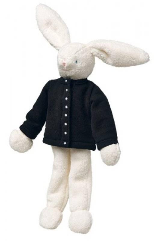 trousselier peluche lapin ivoire cardigan noir agn s b 32 cm. Black Bedroom Furniture Sets. Home Design Ideas
