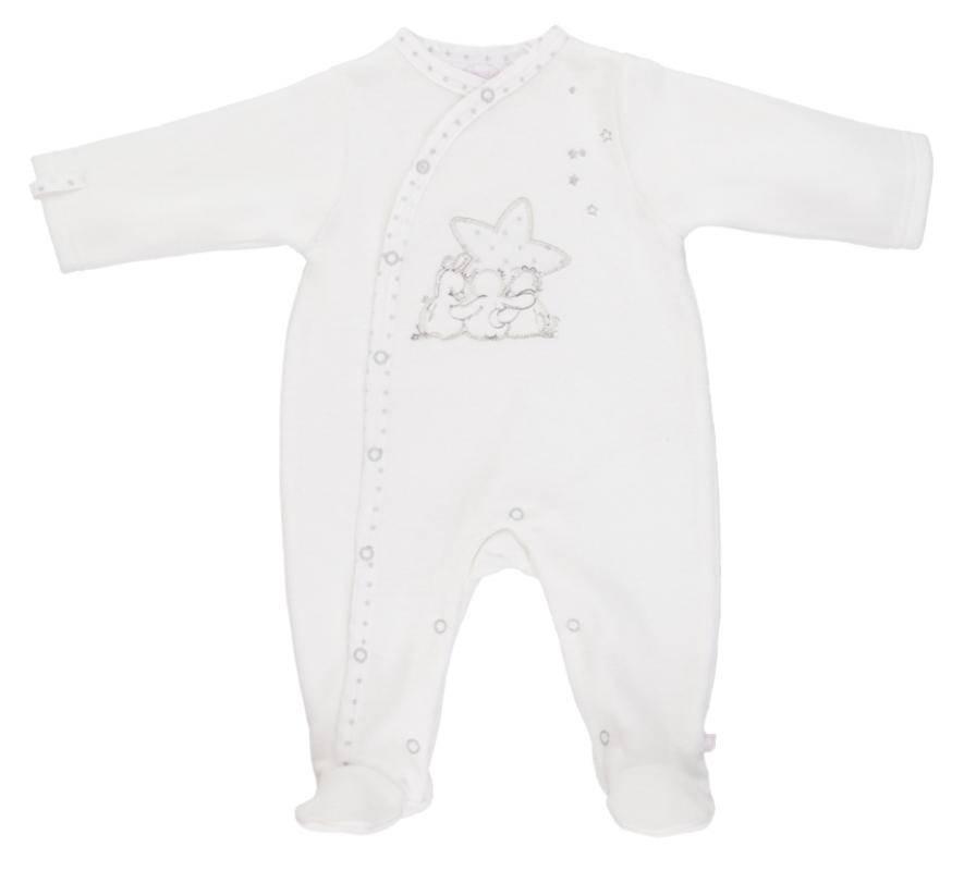 noukies pyjama blanc poudre d 39 etoiles 1 mois. Black Bedroom Furniture Sets. Home Design Ideas