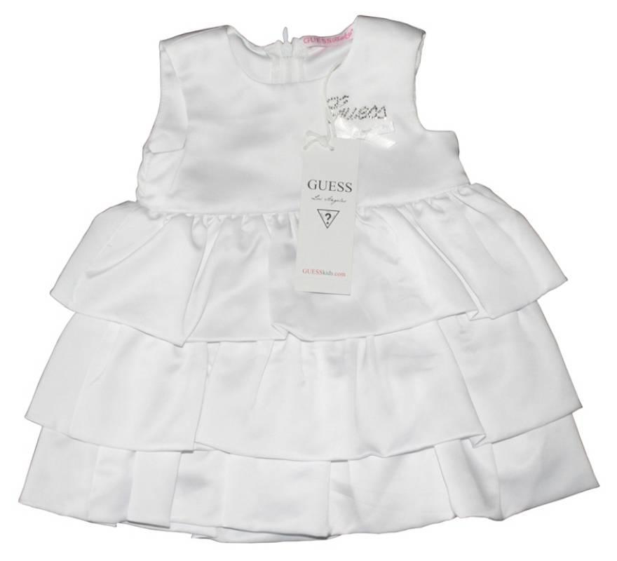 guess enfant robe blanche volants 3 6 mois. Black Bedroom Furniture Sets. Home Design Ideas