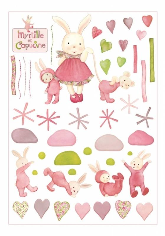 Moulin roty stickers d co myrtille et capucine for Stickers et decoration