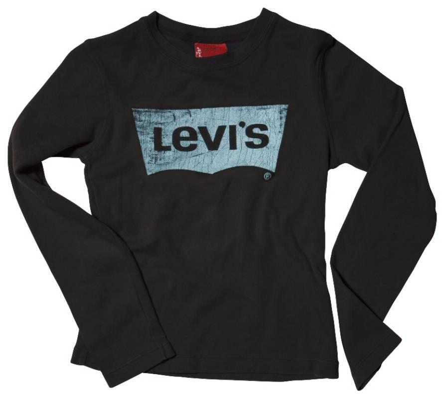 levis tee shirt sidney manches longues noir 6 ans. Black Bedroom Furniture Sets. Home Design Ideas