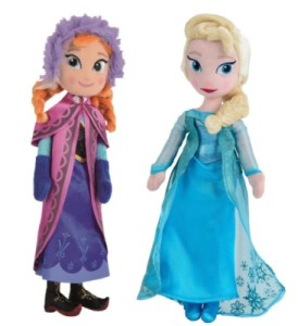 Lot 2 Peluches Elsa et Anna La Reine des Neiges - 25 cm