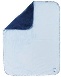 Couverture Supersoft Bleu Ciel et Bleu Marine Lapidou - 75x100 cm