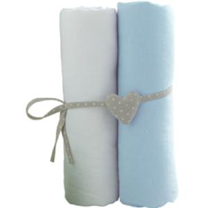Lot de 2 Draps Housse Blanc et Bleu Ciel - 60x120 cm