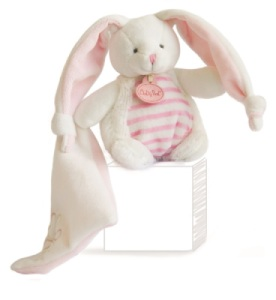 Doudou Pantin Lapin Layette Rose Avec Doudou  - 13 cm