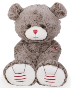 Peluche Large Ours Cacao - Rouge