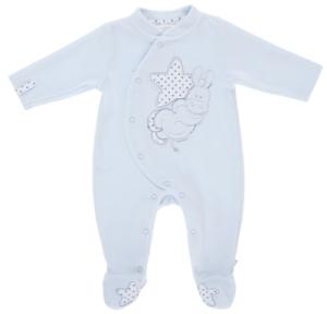 Pyjama Ane Paco Velours Ciel - 6 mois