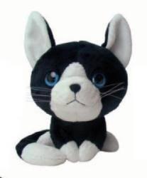Peluche Chat Noir et Blanc - 25 cm