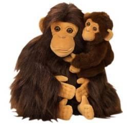 Peluche Chimpanzé avec son Bébé