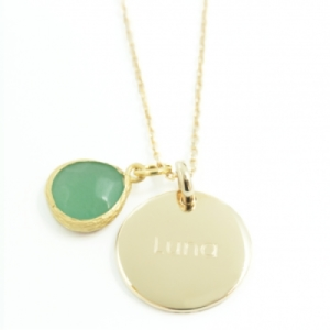 Pendentif Jade Turquoise Plaqué Or