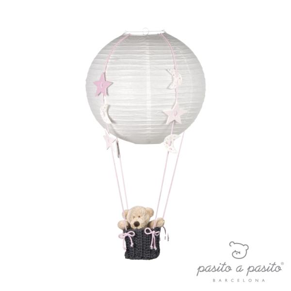 Pasito A Pasito Lampe Montgolfière Etoiles et Lunes Rose