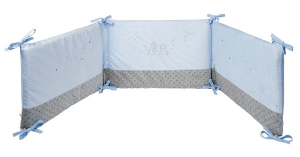tour de lit poudre etoile bleu doudouplanet. Black Bedroom Furniture Sets. Home Design Ideas