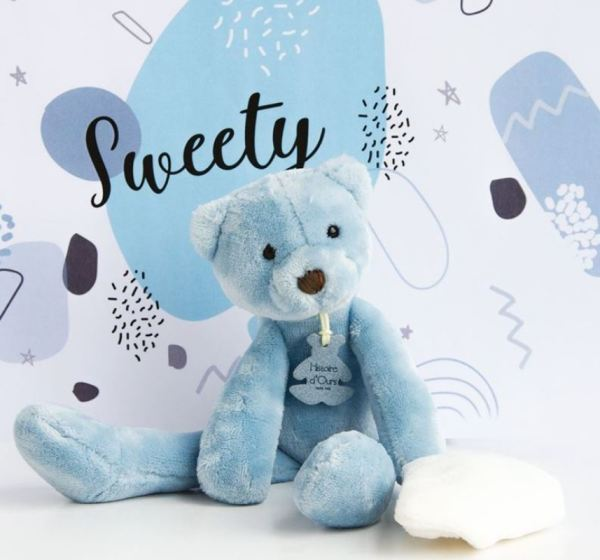 Histoire d Ours Peluche Pantin Ours Bleu Sweety - 30 cm