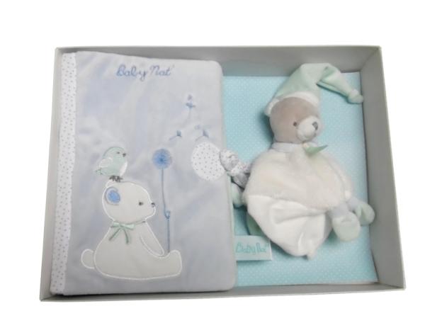 Babynat Coffret cadeau protège carnet de santé et doudou ours Bleu