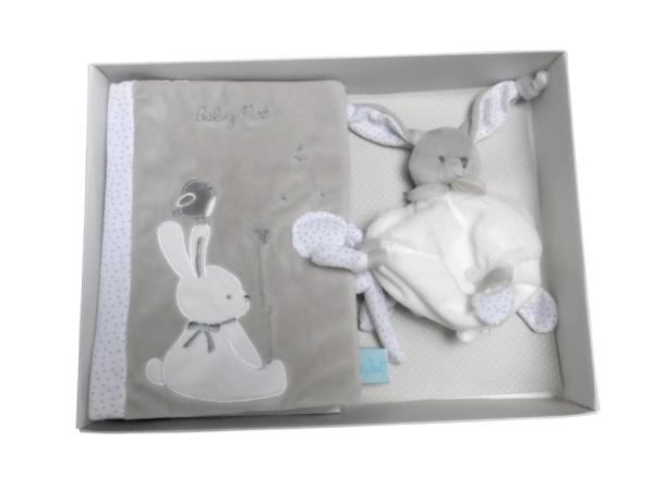Babynat Coffret cadeau protège carnet de santé et doudou lapin Taupe
