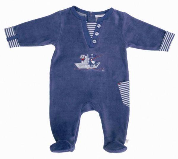 Noukies Pyjama Velours Bleu Bill et Bono BDM Boy
