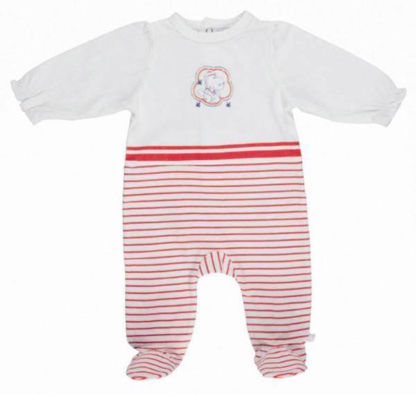 Noukies Pyjama Jersey Rayé Rouge Victoria BDM Girl 9 mois