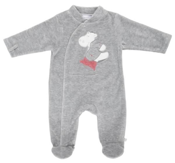 Noukies Pyjama Velours Gris Victor BDM Boy - 9 mois