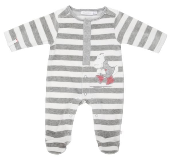 Noukies Pyjama Velours Rayé Gris Victor BDM Boy - 6 mois