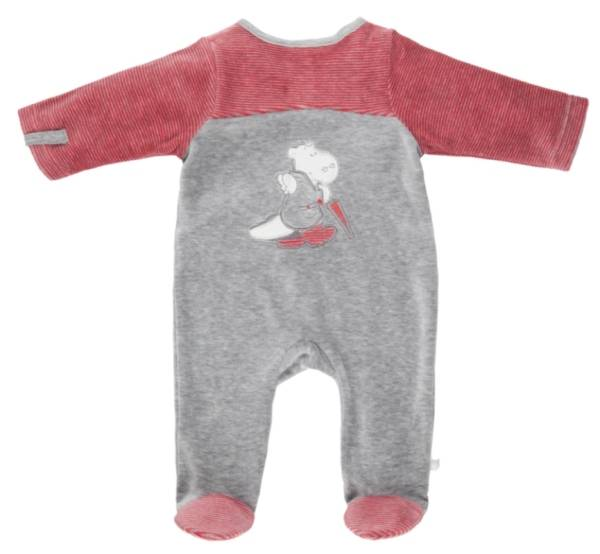 Noukies Pyjama Velours Gris Rouge Victor BDM Boy - 9 mois