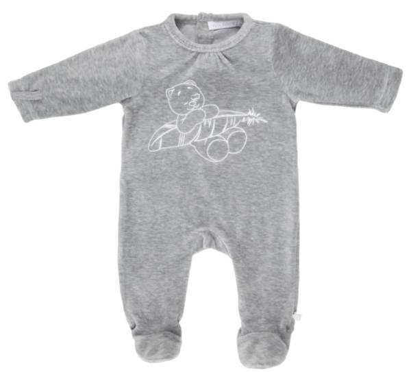 Noukies Pyjama Velours Gris Chat Iris Cocon Girl - 9 mois