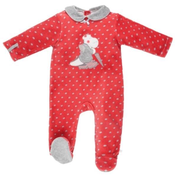 Noukies Pyjama Velours Rouge Victoria BDM Girl - 9 mois