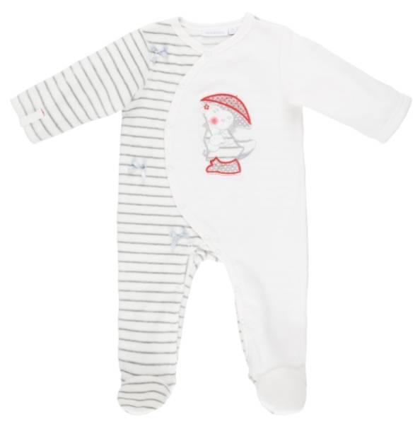 Noukies Pyjama Velours Blanc Gris Victoria BDM Girl - 3 mois