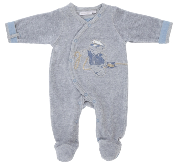 Noukies Pyjama Velours Nouky Gris - 1 mois