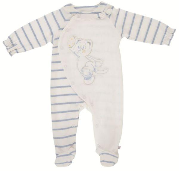 Noukies Pyjama Chat Iris Jersey Blanc Rayé Bleu - 6 mois