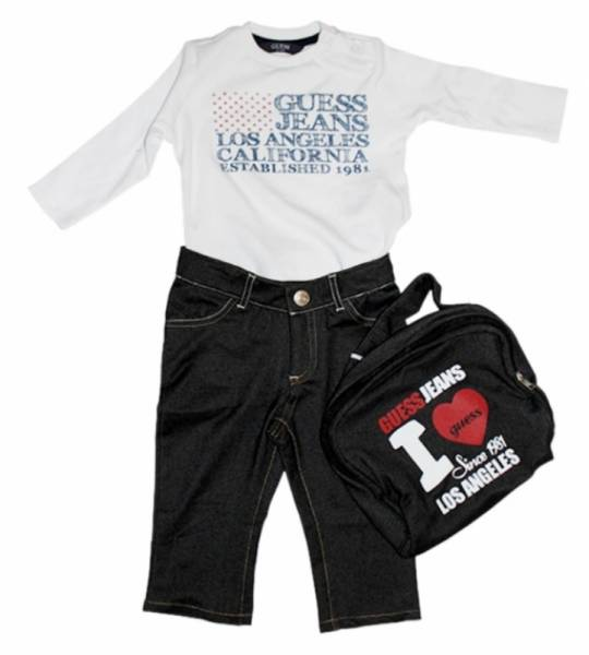 Guess Enfant Ensemble Tee-Shirt et Pantalon Optic White 6/9 mois