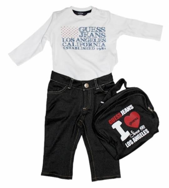 Guess Enfant Ensemble Tee-Shirt et Pantalon Optic White 18 mois