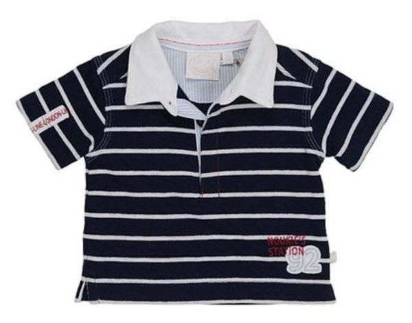 Noukies Polo Manches Courtes Rayé Bleu Marine 9 mois