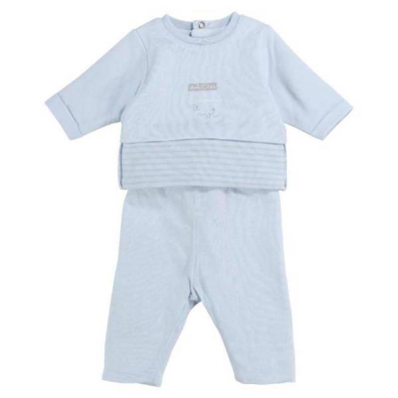 Absorba Ensemble Tee-Shirt et Pantalon Bleu Coton Biologique 6 Mois