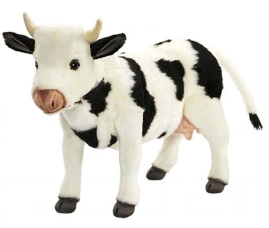 anima peluche vache noire et blanche debout 35 cm. Black Bedroom Furniture Sets. Home Design Ideas