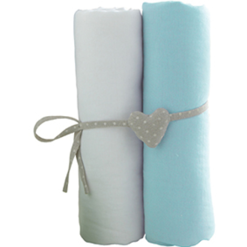 Babycalin Lot de 2 Draps Housse Blanc et Turquoise - 70x140 cm